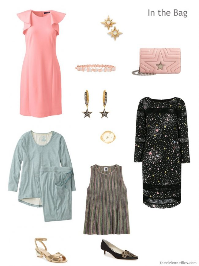 3. tiny travel capsule wardrobe in blush, soft green and black