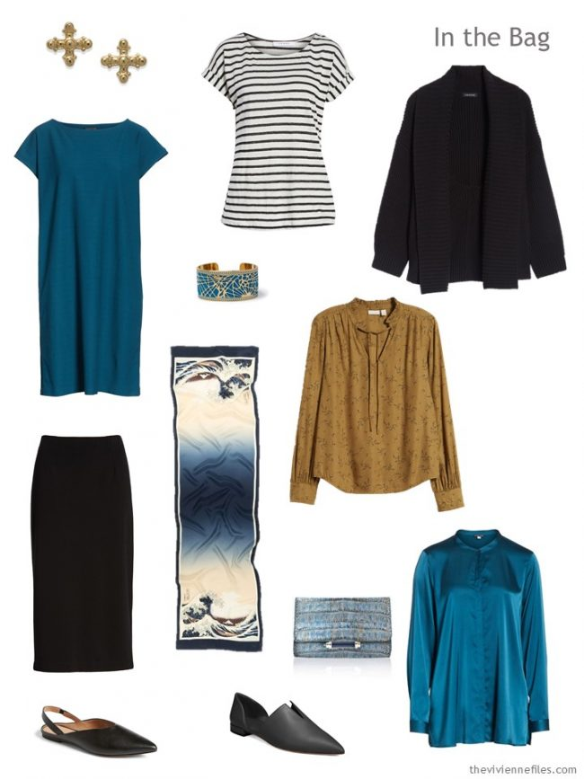 3. travel capsule wardrobe in black, teal and camel
