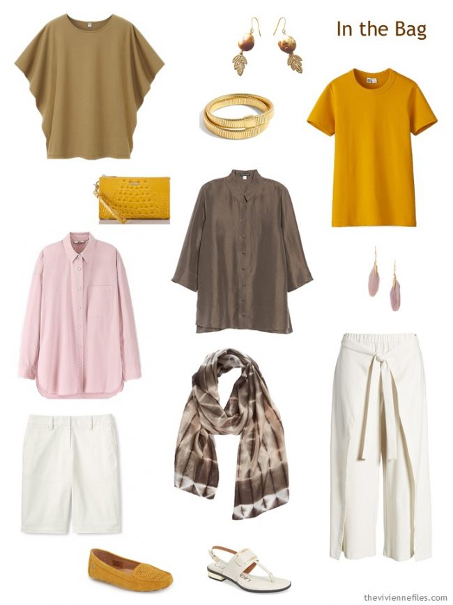 3. travel capsule wardrobe in brown, ivory, pink and gold
