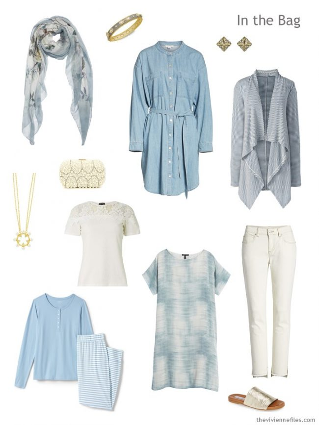 3. travel capsule wardrobe in ivory and denim blue