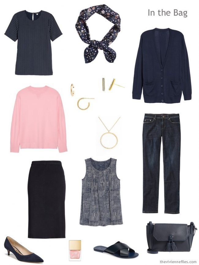 3. travel capsule wardrobe in navy and pink