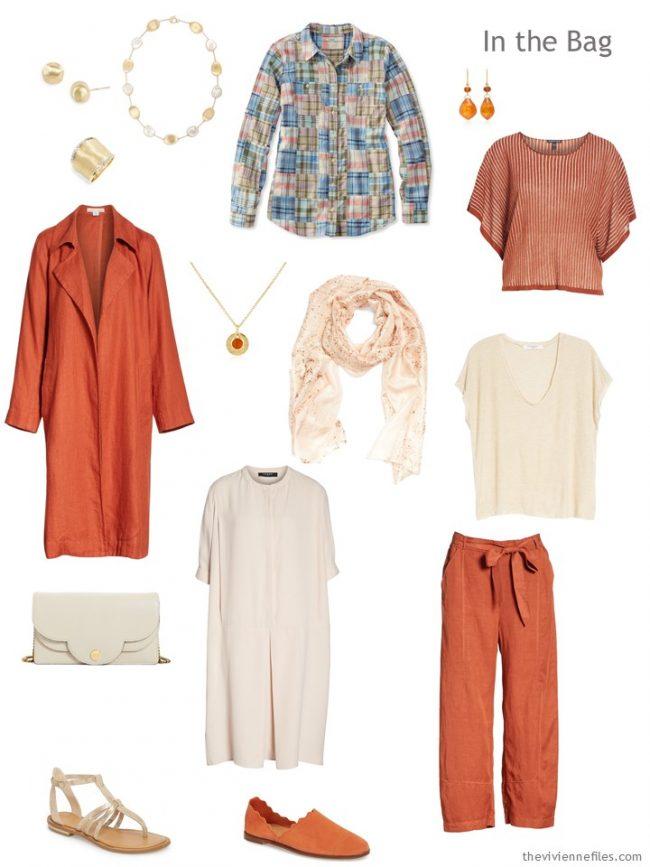 3. travel capsule wardrobe in orange and beige