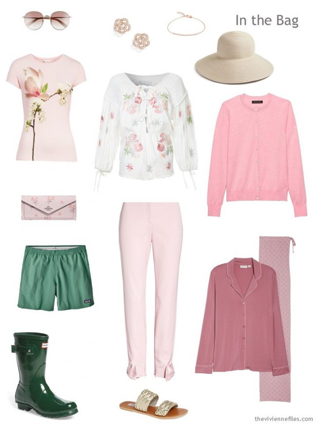 3. travel capsule wardrobe in pink and green