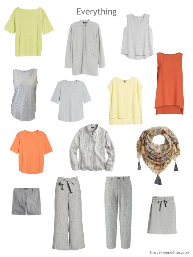 4. 12-piece capsule wardrobe in grey with orange, yellow and green