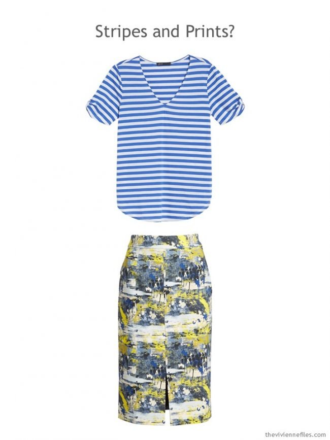 4. royal blue striped tee and blue and yellow print skirt