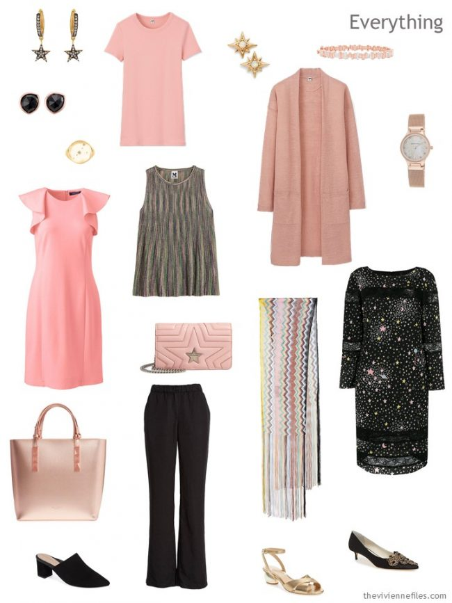 4. tiny travel capsule wardrobe in black and blush