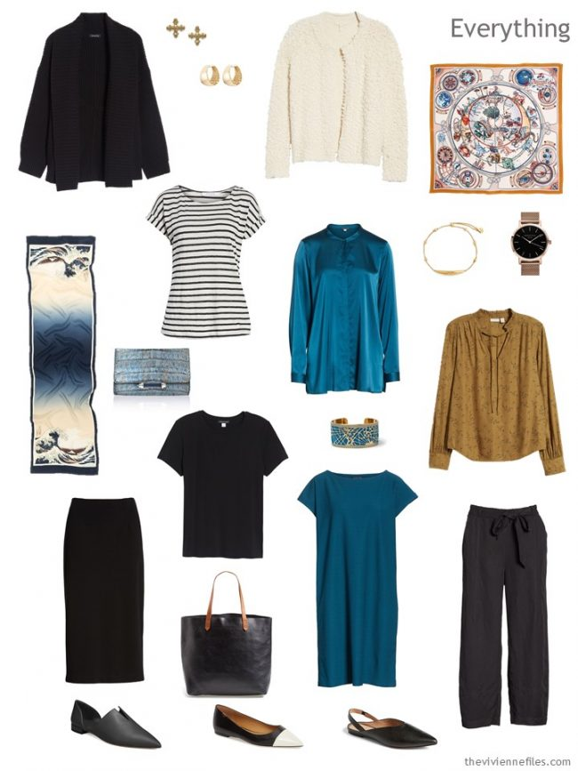 4. travel capsule wardrobe in black, ivory, teal and camel