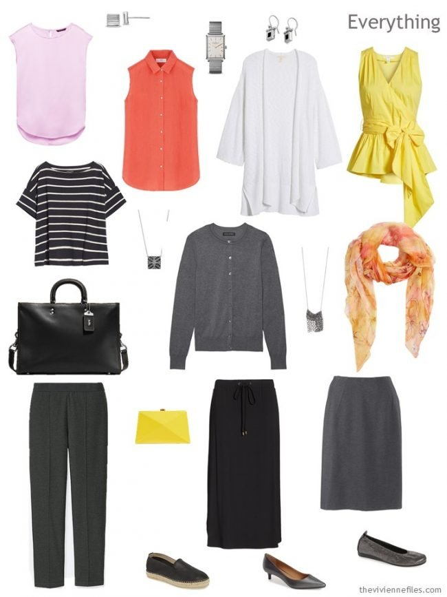 4. travel capsule wardrobe in black, white and grey with pink orange and yellow