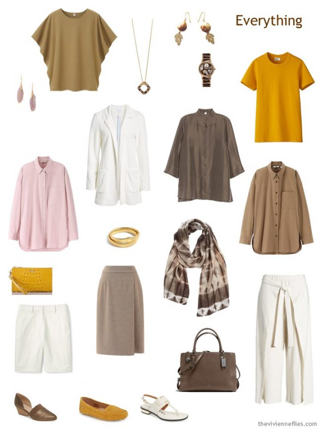 4. travel capsule wardrobe in brown, ivory, pink and gold
