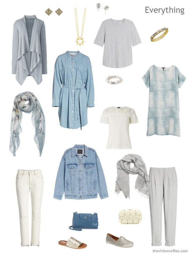 4. travel capsule wardrobe in ivory, grey and denim blue