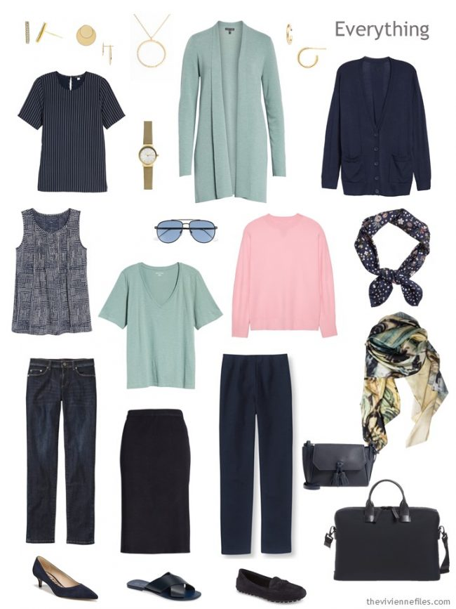 4. travel capsule wardrobe in navy, soft green and pink