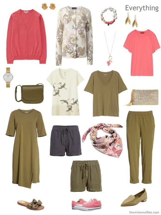 4. travel capsule wardrobe in olive, grey and coral pink