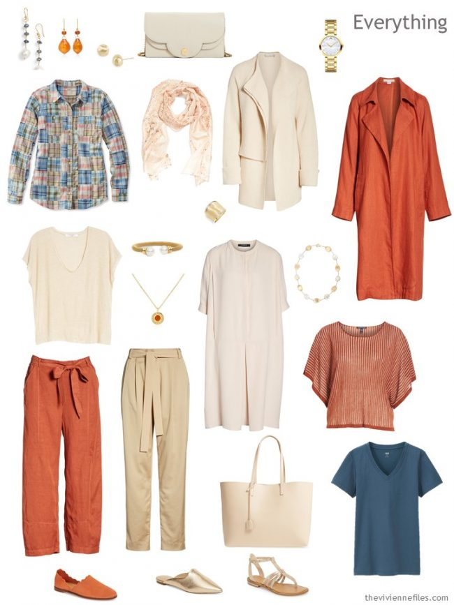 4. travel capsule wardrobe in orange, beige and blue