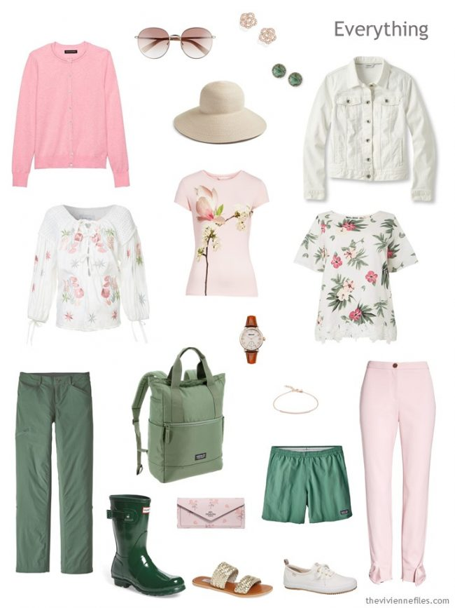 4. travel capsule wardrobe in pink, ivory and green