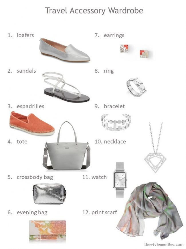 5. 12-piece accessory wardrobe for grey and citrus colors wardrobe