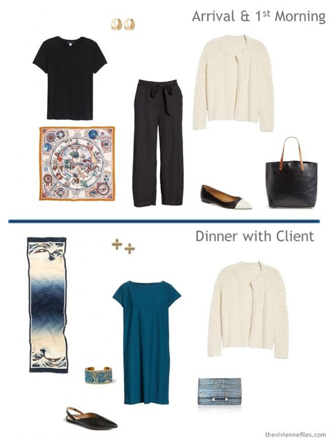 5. 2 outfits from a black, cream, and teal travel capsule wardrobe