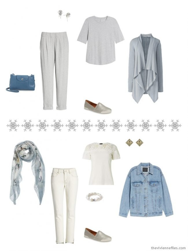 5. 2 outfits from a grey, ivory and denim travel capsule wardrobe