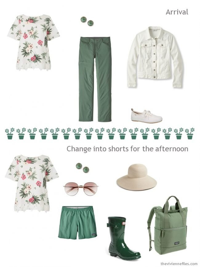 5. 2 outfits from a travel capsule wardrobe in pink ivory and green