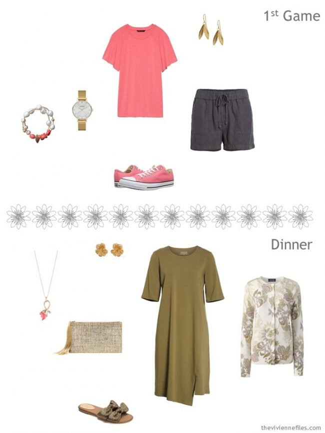 5. 2 outfits from an olive and grey travel capsule wardrobe