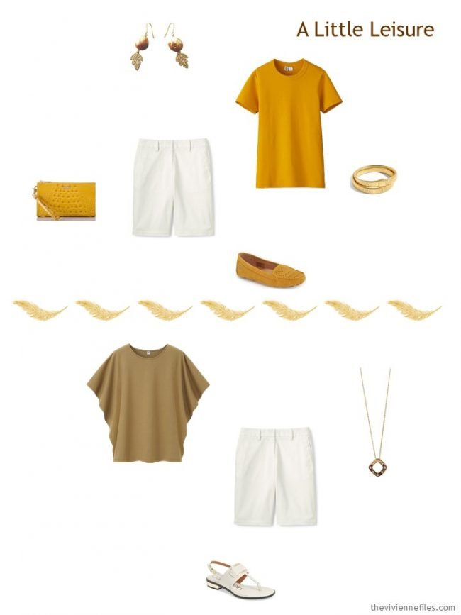 5. 2 ways to wear ivory shorts from a travel capsule wardrobe