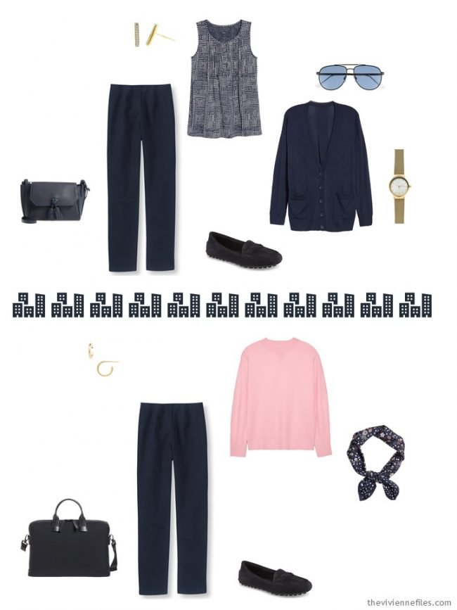 5. 2 ways to wear navy pants from a travel capsule wardrobe