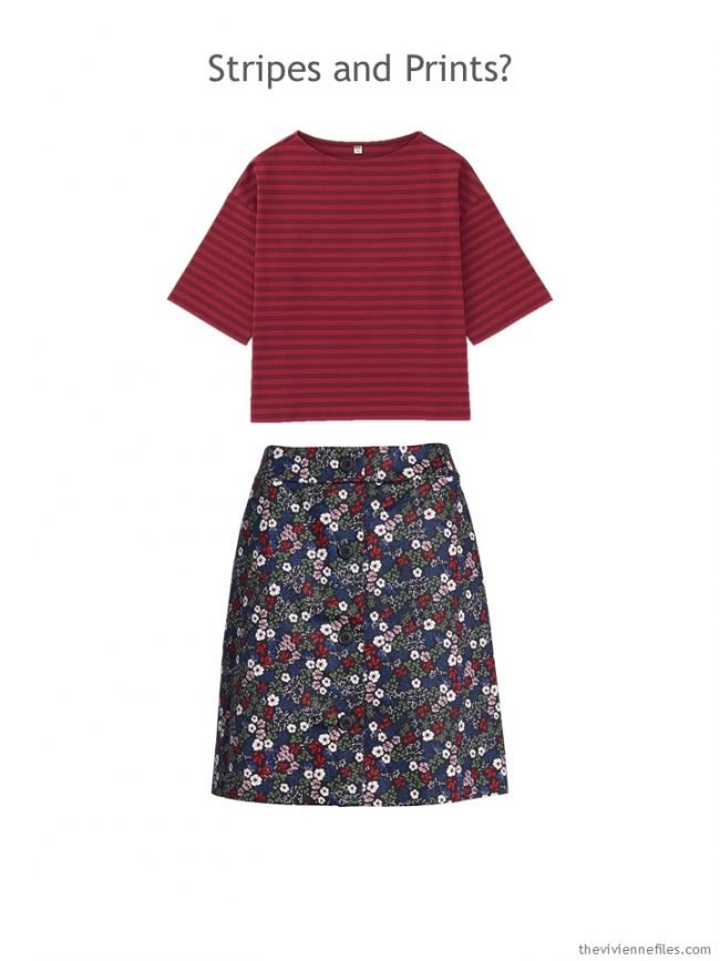 5. red striped tee and navy & red floral skirt
