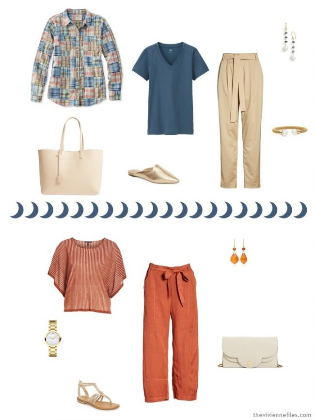 6. 2 outfits from a beige, orange and blue travel capsule wardrobe