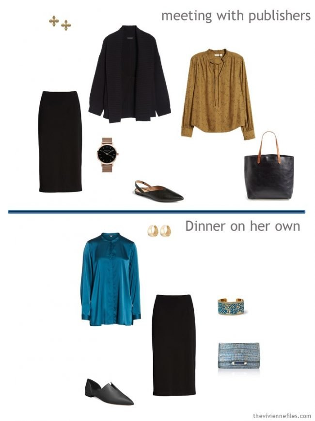 6. 2 outfits from a travel capsule wardrobe in black, teal and camel