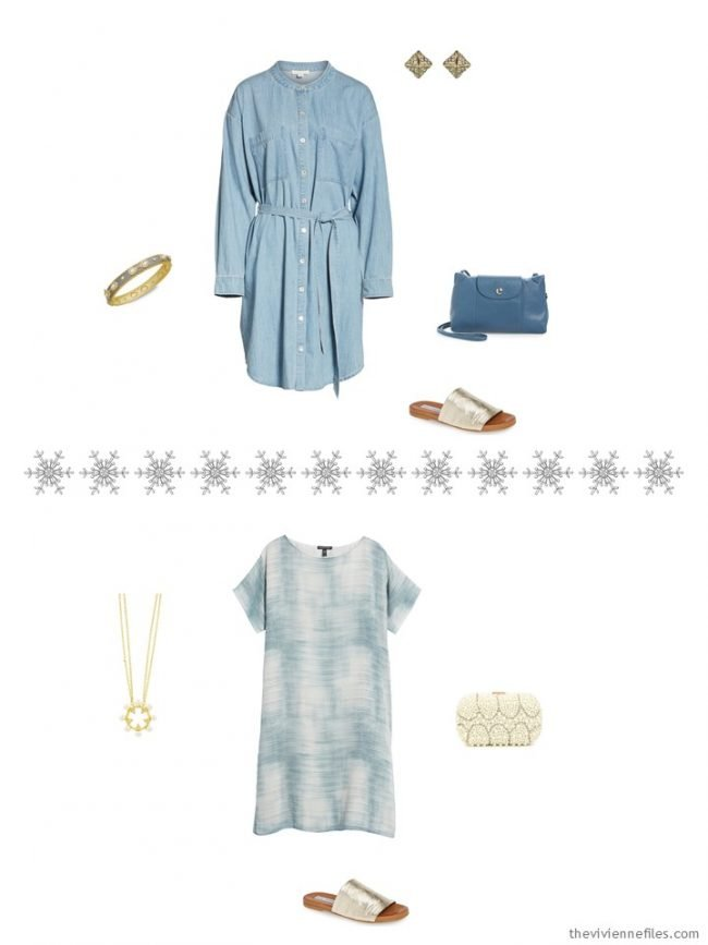 6. 2 outfits from a travel capsule wardrobe in denim, grey and ivory