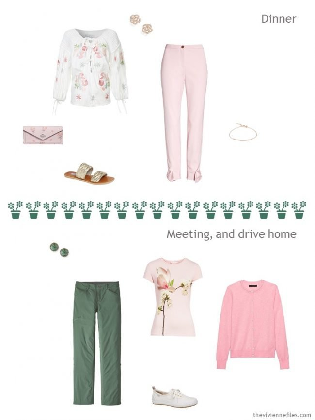 6. 2 outfits from a travel capsule wardrobe in pink, green and ivory