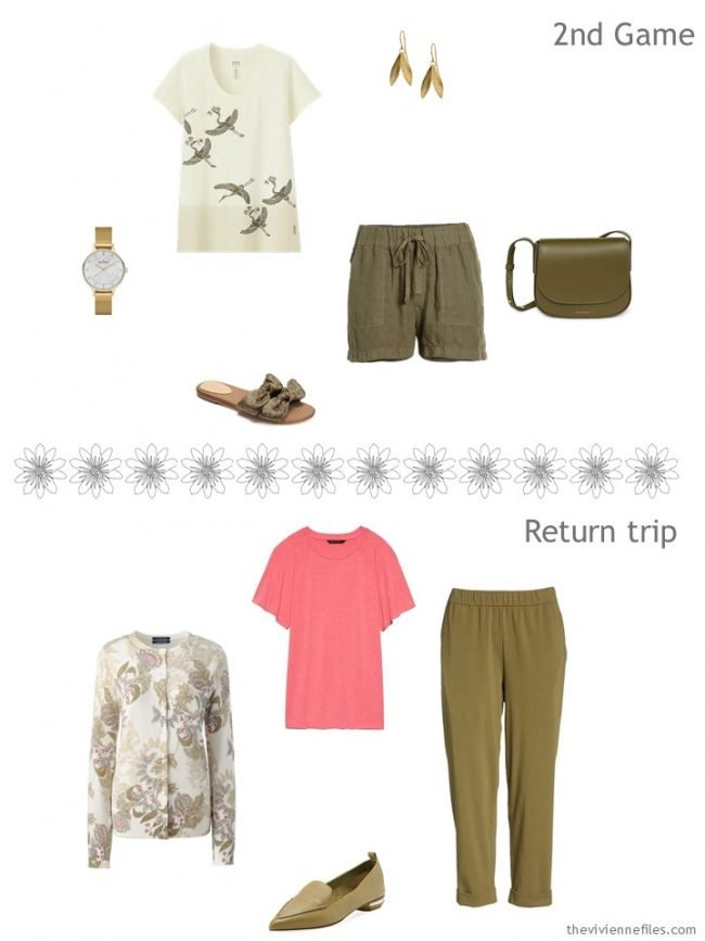 6. 2 outfits from an olive and grey travel capsule wardrobe