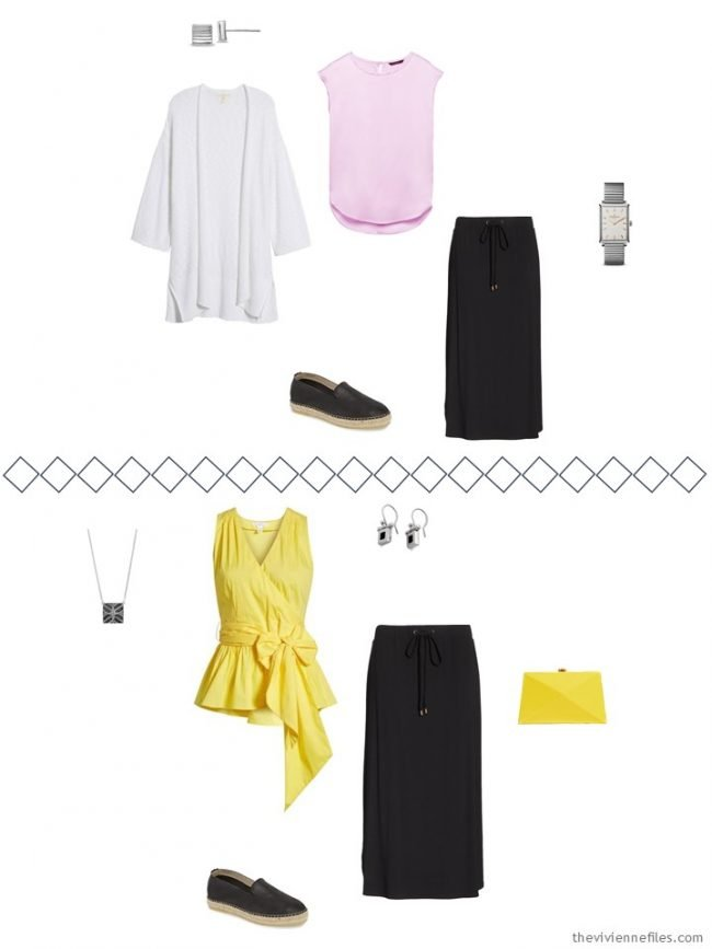 6. 2 ways to wear a black skirt from a travel capsule wardrobe
