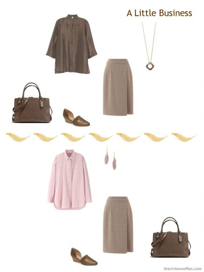 6. 2 ways to wear a brown skirt from a travel capsule wardrobe