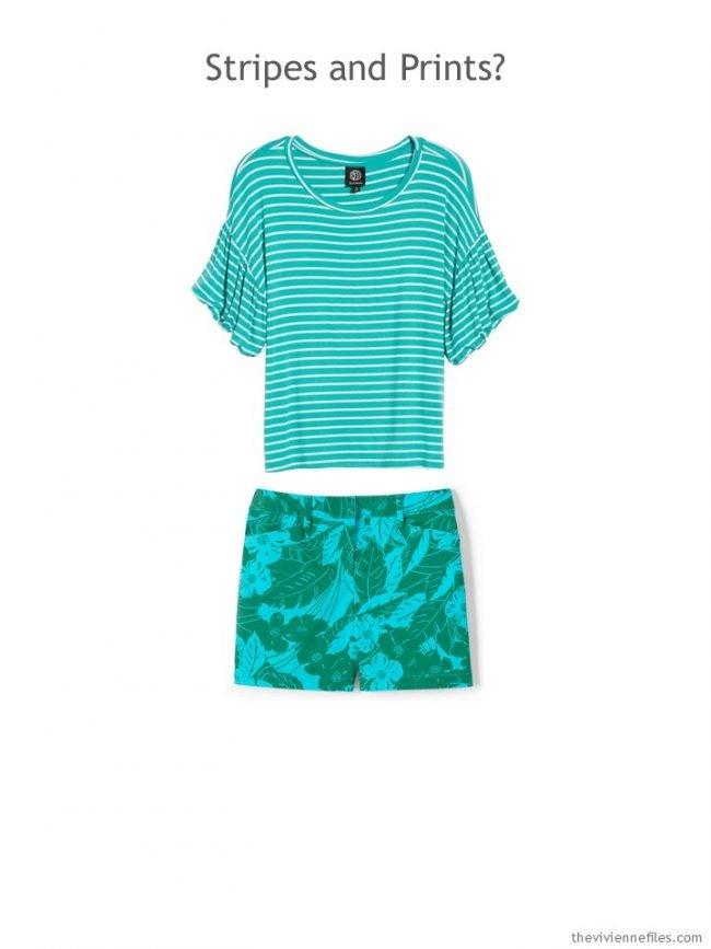 6. aqua striped tee and aqua print shorts