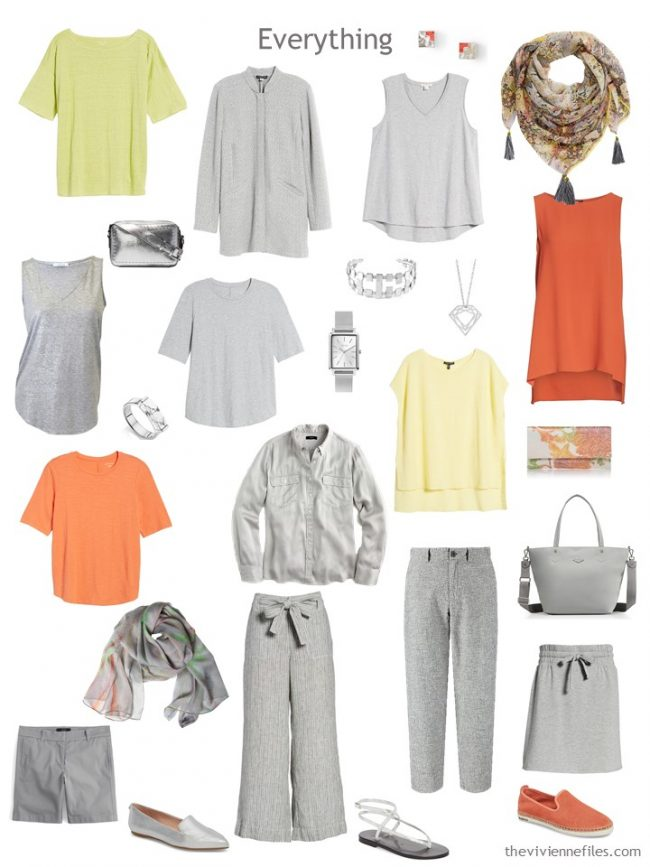 6. grey with orange, yellow and green capsule wardrobe with accessories