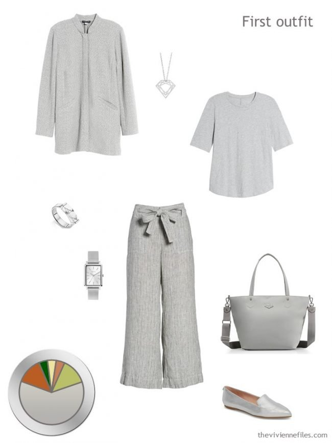 7 grey jacket, tee and pants with accessories