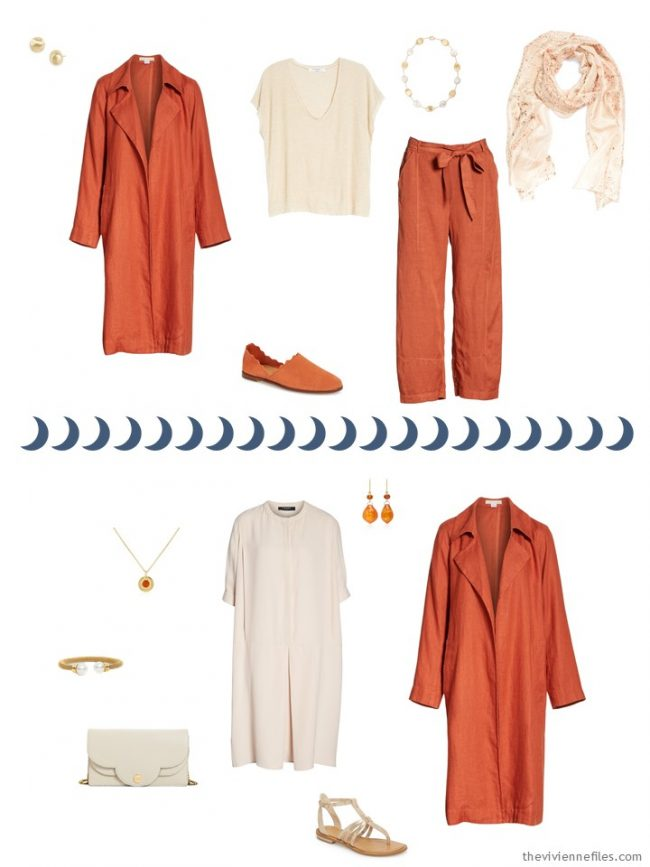 7. 2 outfits from a beige, orange and blue travel capsule wardrobe