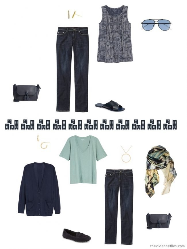 7. 2 ways to wear dark-wash jeans from a travel capsule wardrobe