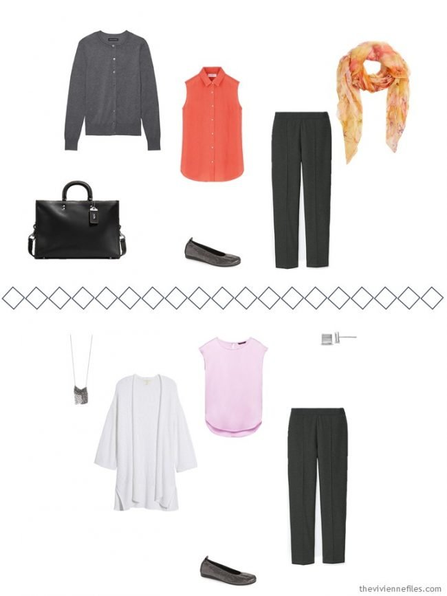 7. 2 ways to wear grey pants from a travel capsule wardrobe