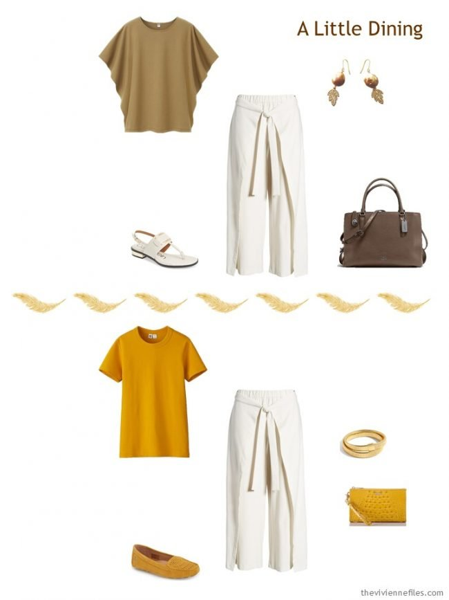 7. 2 ways to wear ivory pants from a travel capsule wardrobe