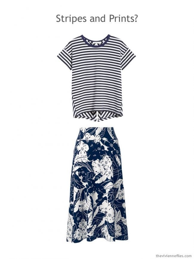 7. navy striped tee and navy floral skirt