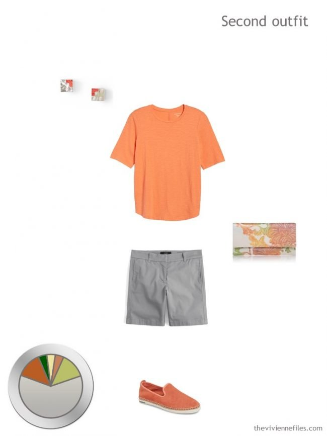 8. orange tee with grey shorts and accessories