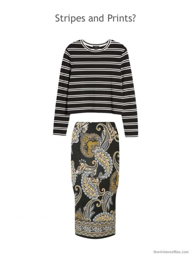 8.black striped tee and black floral skirt