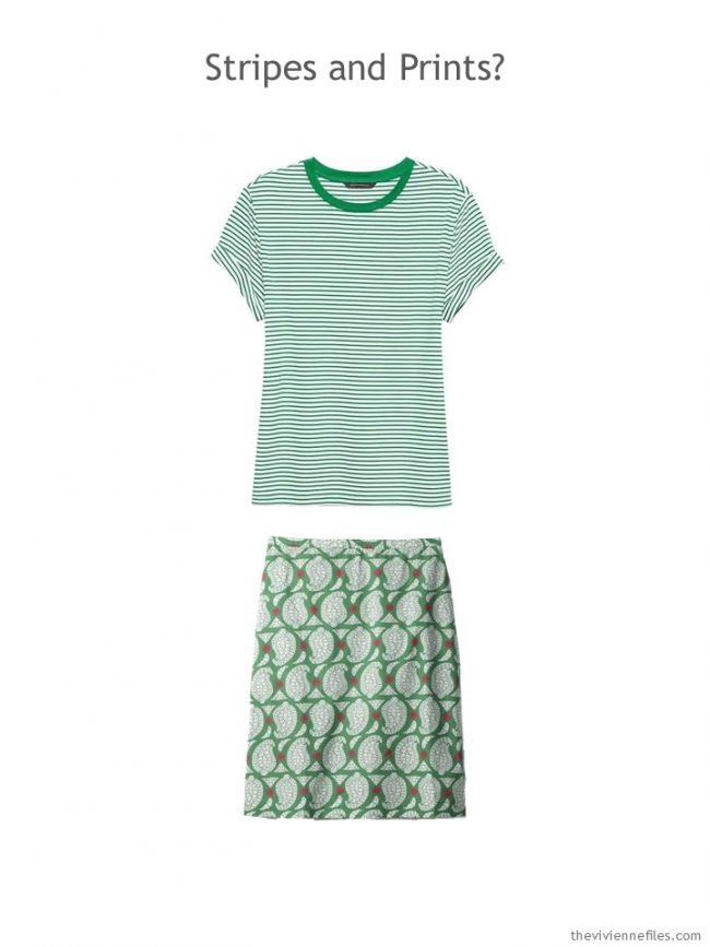 9. green and white striped tee and green geometric print skirt