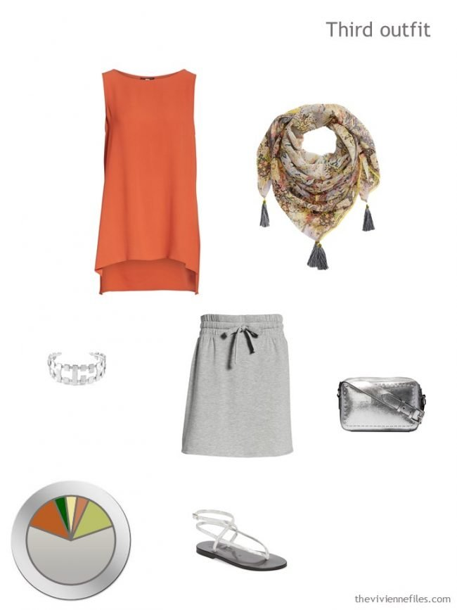 9. orange tunic and grey skirt with accessories