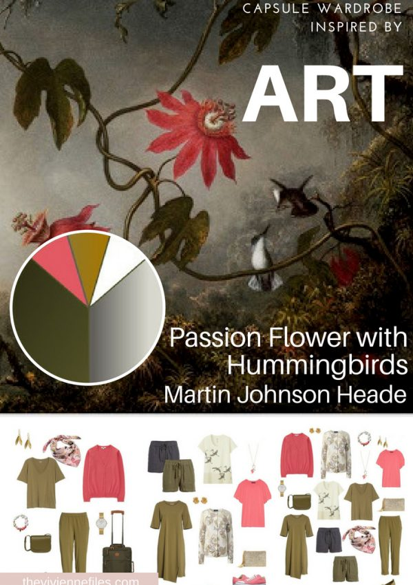 A TRAVEL CAPSULE WARDROBE INSPIRED BY PASSION FLOWER WITH HUMMINGBIRDS