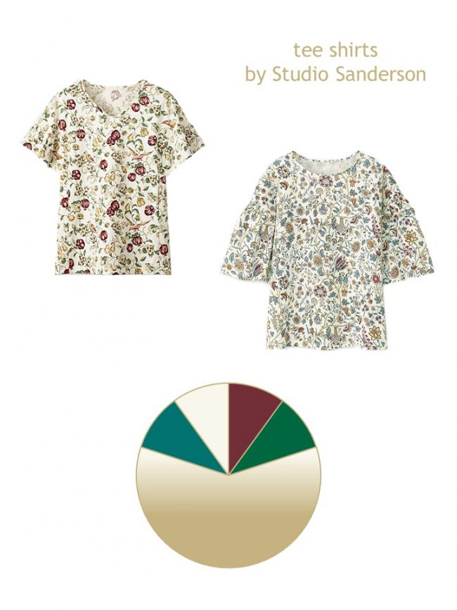 1. 2 floral tee shirts and a color palette based upon them