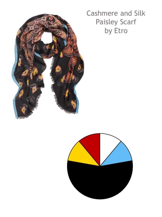1. Etro paisley scarf with color palette