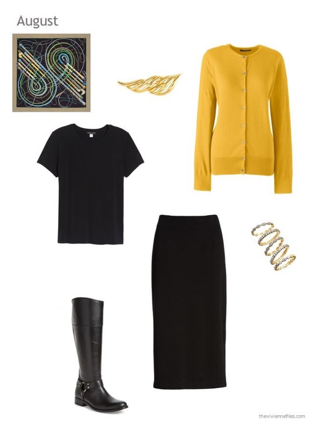 1. black and gold skirt outfit
