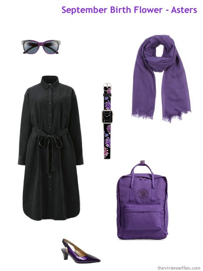 1. black dress with purple accessories